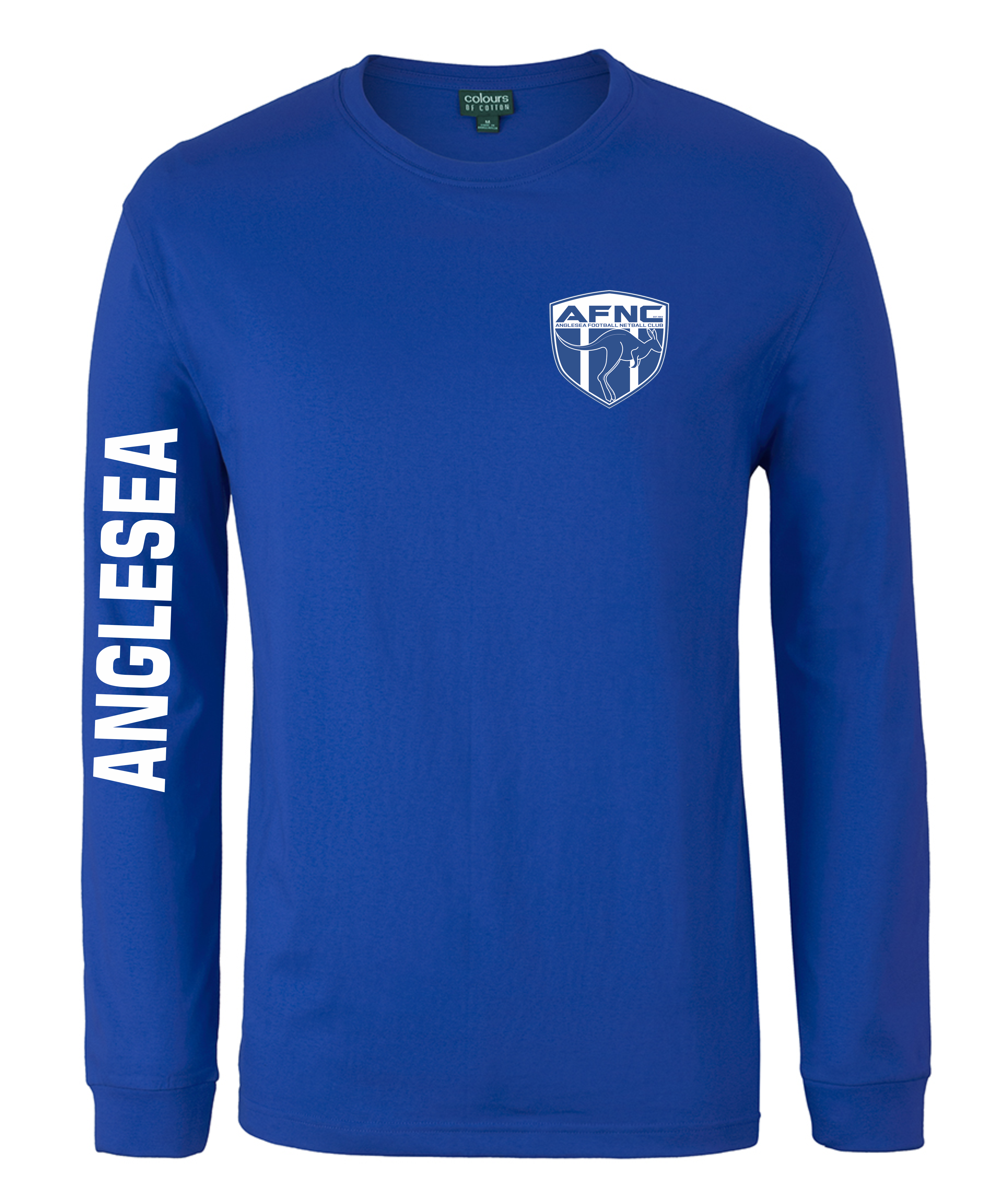 Kids & Adults Unisex Long Sleeve Tee in Royal or White